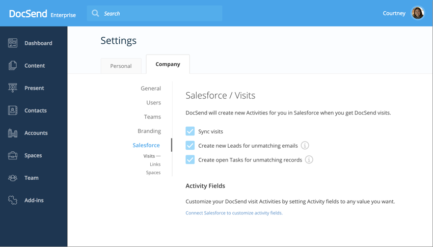 Salesforce Settings DocSend