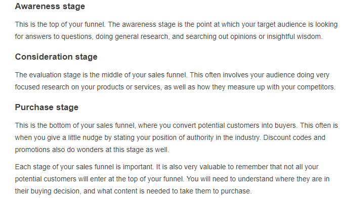 The 3 stages: Awareness, Consideration, and Purchase