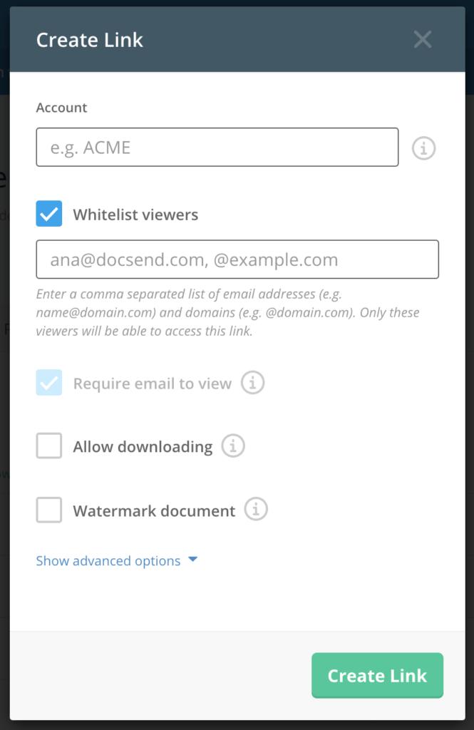 DocSend Whitelist settings