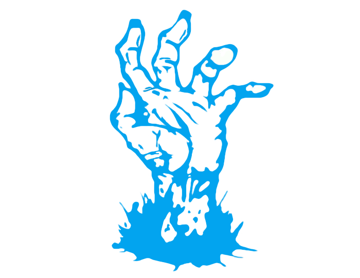 Image of a blue zombie hand popping up out of the ground - cartoon.