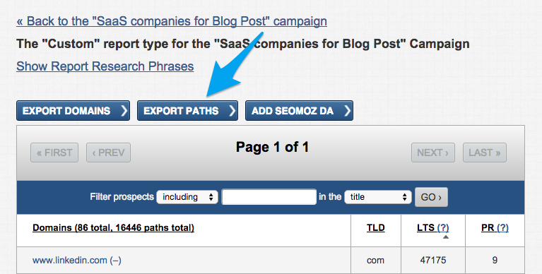 how to export to csv from link prospector