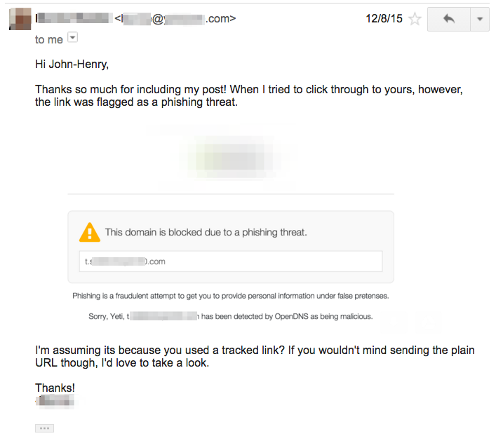 email tracking being blocked by openDNS