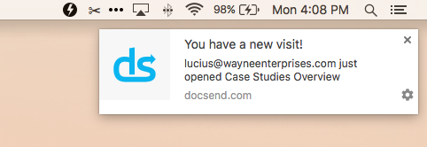 a new alert in DocSend for when someone visits an attachment that you've sent them