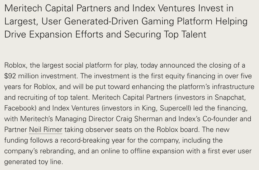 Index Ventures contribution to Roblox