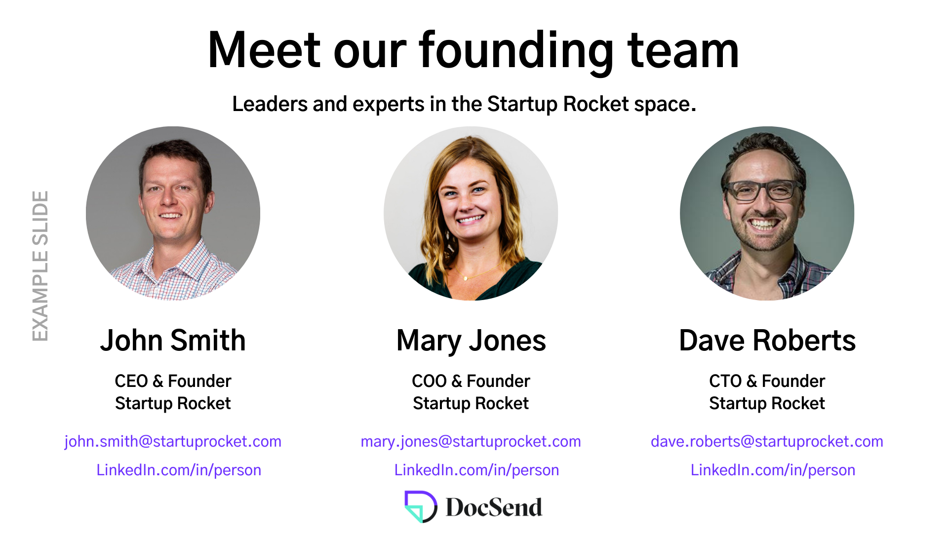 Startup fundraising team pitch deck slide example